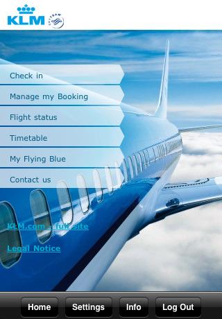 Homepage app KLM